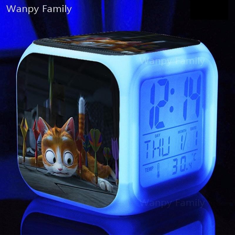 3D kreslený kočka budík 7 barev zářící LED digitální budík děti narozeninový dárek multifunkční dotykový snímací budík