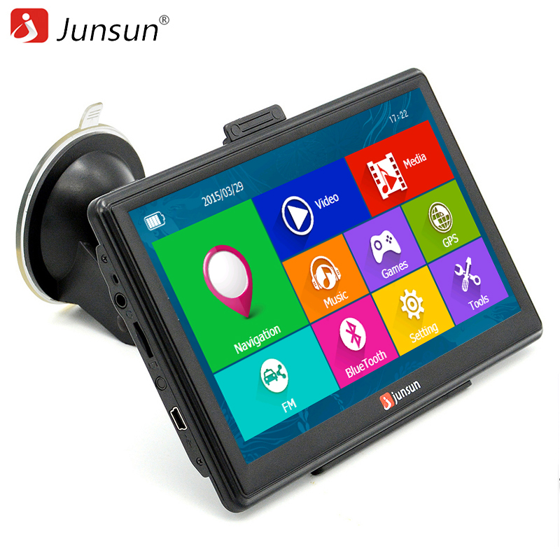 Junsun 7 inch Car GPS Navigation Capacitive screen Bluetooth AV-In FM Built in 8GB WinCE 6.0 Map For Europe house car edaohang e53 5 touch screen lcd wince 6 0 gps navigator w fm 8gb black