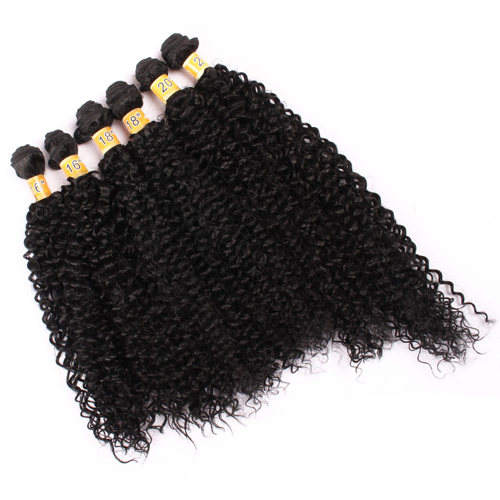 DELICE 16 18 20inch 6Bundles/pack Synthetic Kinky Curly Hair Weaving Black Hair Extensions For Women(China)