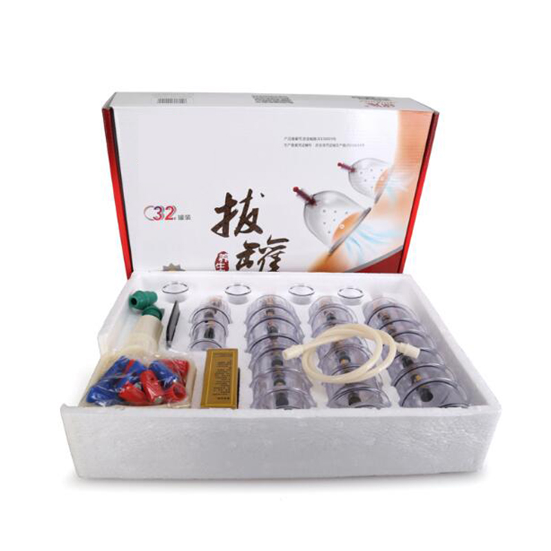 Cheap 32 Pieces Cans cups chinese vacuum cupping kit pull out a vacuum apparatus therapy relax massagers curve suction pumps 12pcs cups 6pcs magnetic needle extension tube pump chinese modern vacuum healthy cupping set massage therapy suction apparatus