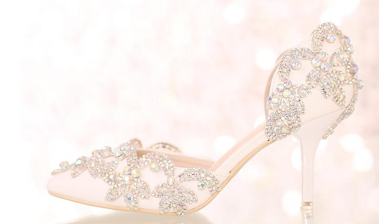 ФОТО Newly arrival women pumps stiletto high heels pure white and pink color for your selection  crystal embellishment elegant shoes