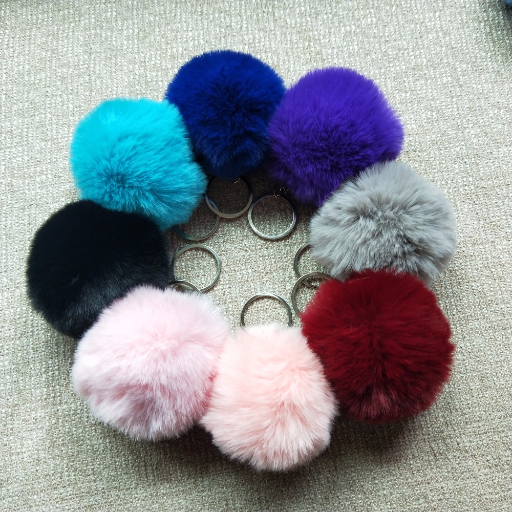 8CM 13 Colors Fluffy Rabbit Fur Ball Key Chain Cute Cream Black Pompom Artificial Rabbit Fur Keychain Women Car Bag Key Ring