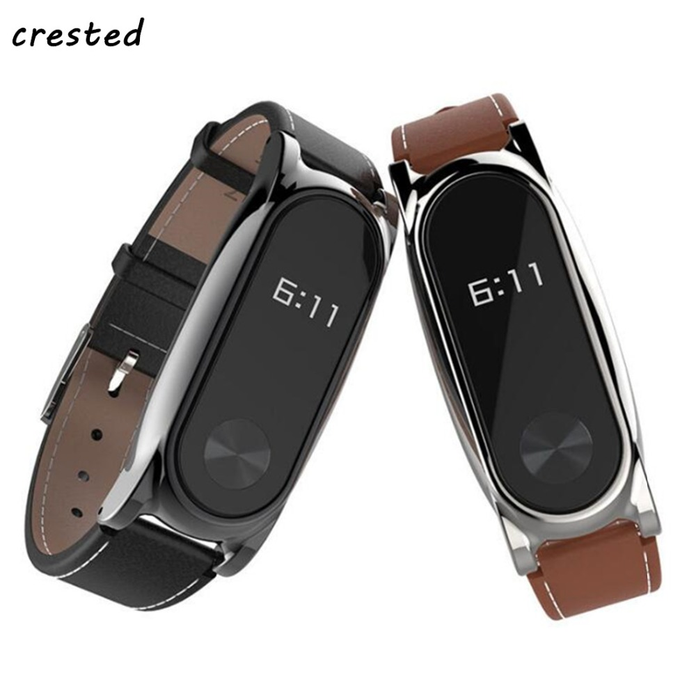 CRESTED Leather Bracelet For Xiaomi Mi Band 2 Wrist Strap Screwless mi band 2 strap Replacement band For xiaomi mi band