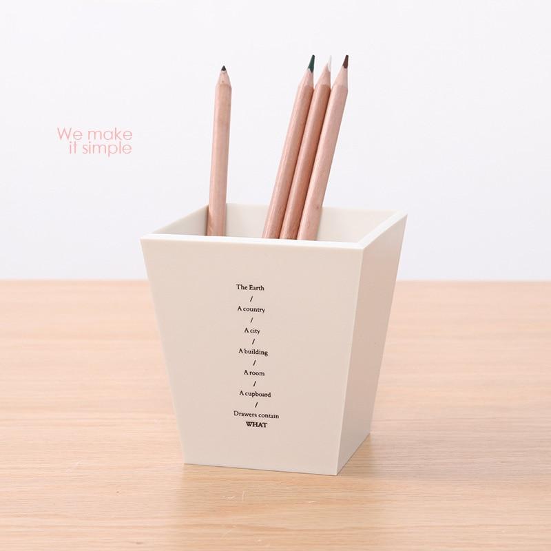 Square Plastic Pen Holder Simple Office Desktop Storage Practical And Fresh Colorful Pen Holder