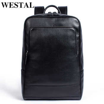 WESTAL Men Genuine Leather backpack Male laptop casual man Messenger Backpack Schoolbag Backpacks in men's casual daypacks 8110 - DISCOUNT ITEM  48% OFF All Category