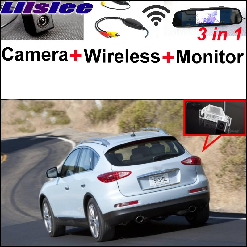 Liislee Wireless Receiver + Mirror Monitor Easy DIY Parking System For Infiniti QX50 EX QX 50 3 in1 Special Rear View Camera wireless pager system 433 92mhz wireless restaurant table buzzer with monitor and watch receiver 3 display 42 call button