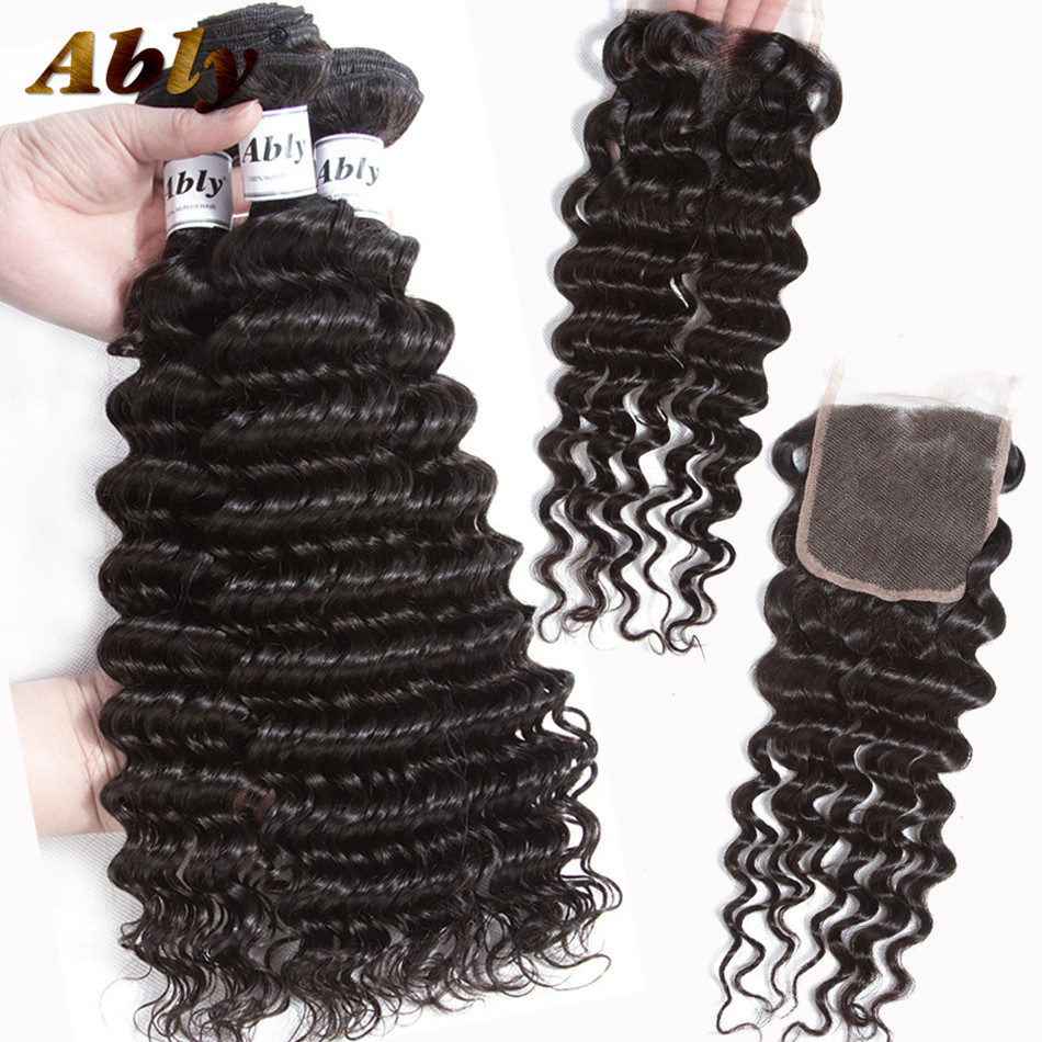 Deep Wave Bundles With Closure Ably 100% Brazilian Remy Human Hair Weft 3 Bundles With Closure Wet And Wavy Bundles With Closure