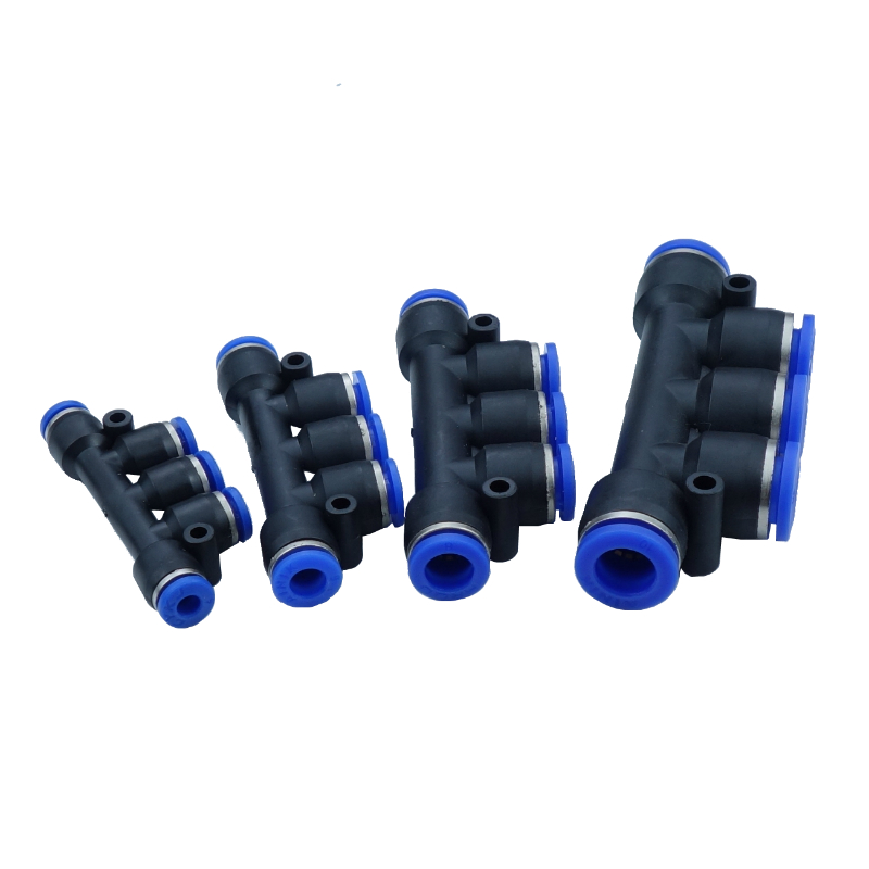 4,6,8,10 12 mm OD Pneumatic Air Push In Quick Fitting 5 Way Manifold Connector free shipping 10pcs lot pu 6 pneumatic fitting plastic pipe fitting pu6 pu8 pu4 pu10 pu12 push in quick joint connect
