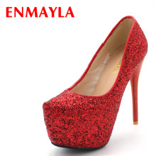 New 2016 fashion high heel shoes women with ankle strap platform pumps sexy red wedding dance for