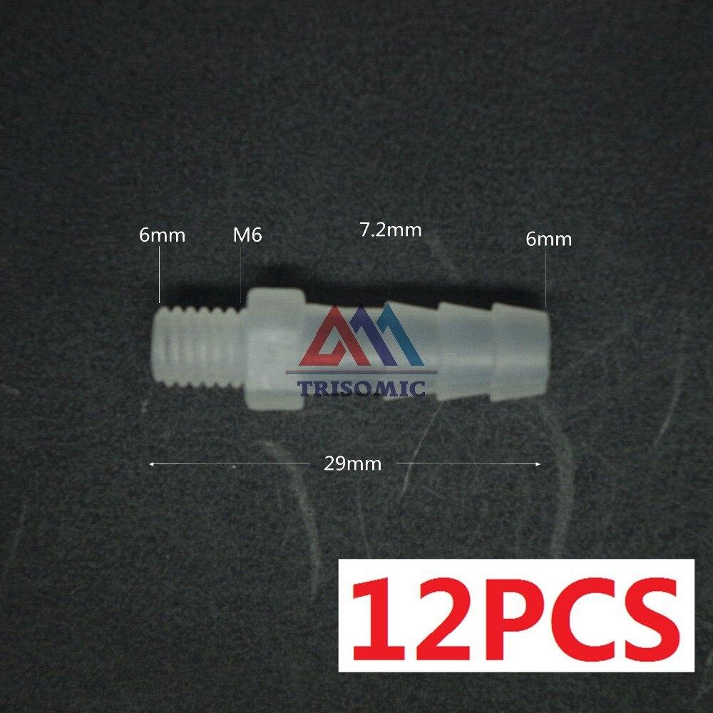 12 Stücke 6mm-m6 Gerade Verbindungskunststoffrohr Fitting Barbed Stecker Mit Gewinde Material Pp Tank Airline Aquarium Schrecklicher Wert Sanitär