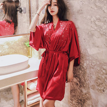 2ea12091f01d Summer honeymoon nightdress sexy nightgown red silky satin female model  sleepwear robe cosmetic women robes 2019