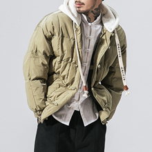 4 Colors Winter Loose Thicken Hooded Parkas Jacket Men Street Fashion Hip Hop Casual Warm Padded Cotton Coat Male Overcoat