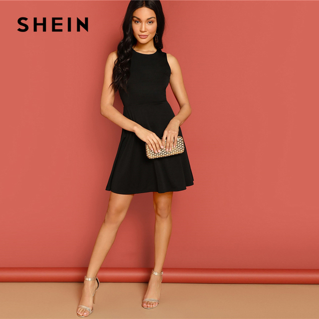 SHEIN Sexy Black Lace Insert Open Back Skater Fit and Flare High Waist Sleeveless Fitted Mini Dress Women Summer Solid Dresses 3