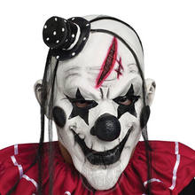 Faroot Deluxe Horrible Scary Clown Mask Adult Men Latex White Hair Halloween Clown Evil Killer Demon Clown Mask(China)