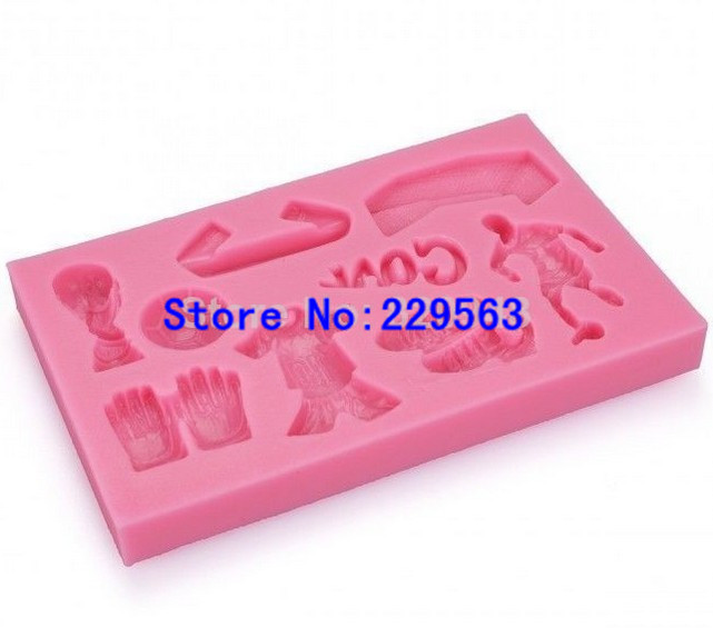 Free Shipping Christmas 10 pcs/lot Plum Football <font><b>Goal</b></font> Boots <font><b>World</b></font> <font><b>Cup</b></font> Sport Cupcake Cake Mould DIY Chocolate Cookie Ice Mold
