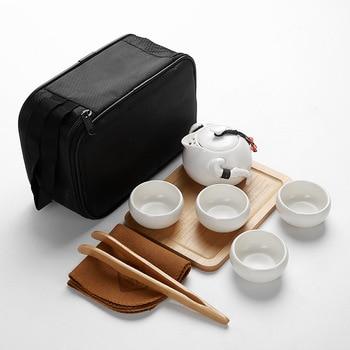 Perjalanan, Kung Fu Tea Set Keramik Portable Teko Porselen Teaset Gaiwan Cangkir Teh Upacara Minum Teh Teh Pot tas Travel