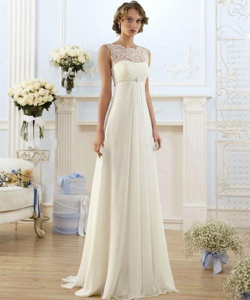 Buy vestido de noiva 2017 a line beach Inexpensive beach wedding dresses