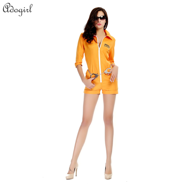 ac42160e Personalized Halloween Costume Jumpsuit Women Yellow Short Sleeve Pants  Suits Ouma Inmates RPG Game Prisoner Jumpsuit Cosplay