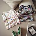 Harajuku Style Women Tops Casual Cute Cartoon Stamp Print Striped Short Tshirt 2017 New Spring Summer Korea Kawaii Short T shirt
