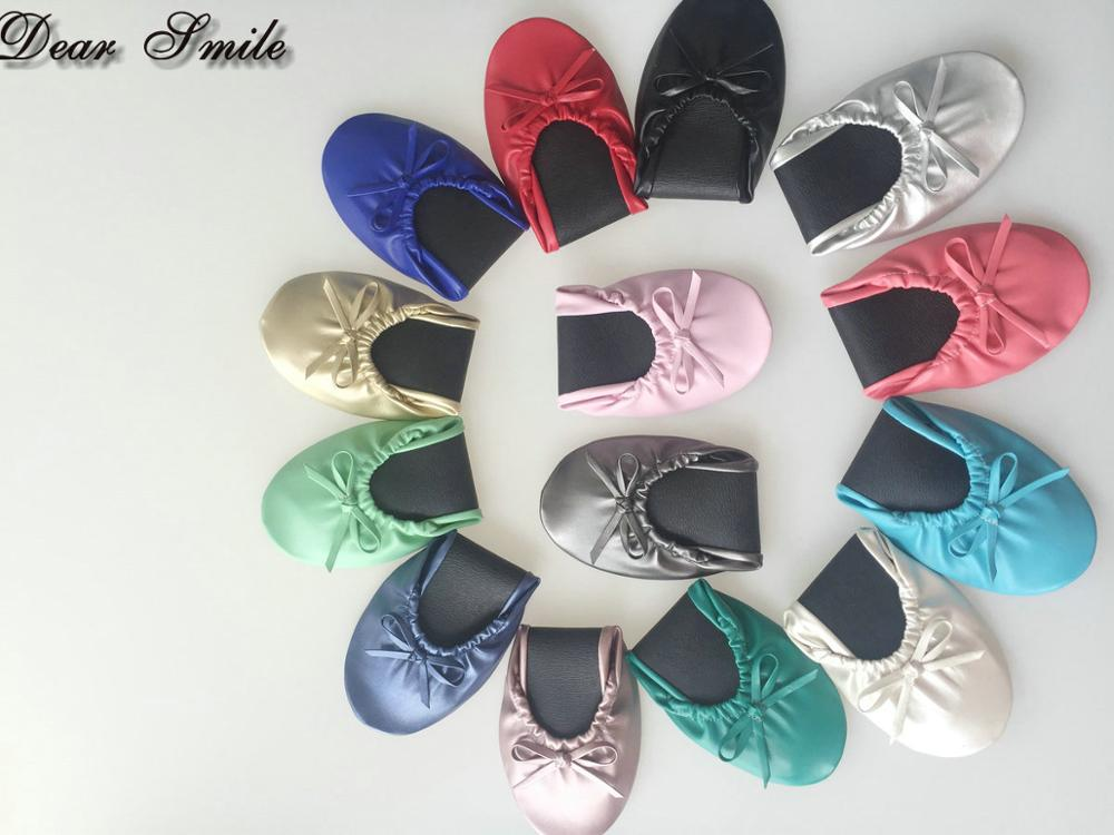 Lady folding ballerina shoes foldable ballet flat fold up rollable shoes for wedding gfit Free Shipping