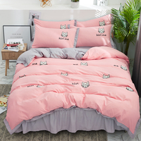 New Pink Gray Kids Girls Bedding Set Twin Queen size Bed set Bed skirt Cute Cats Towel embroidery Bedding Duvet Cover pilowcases