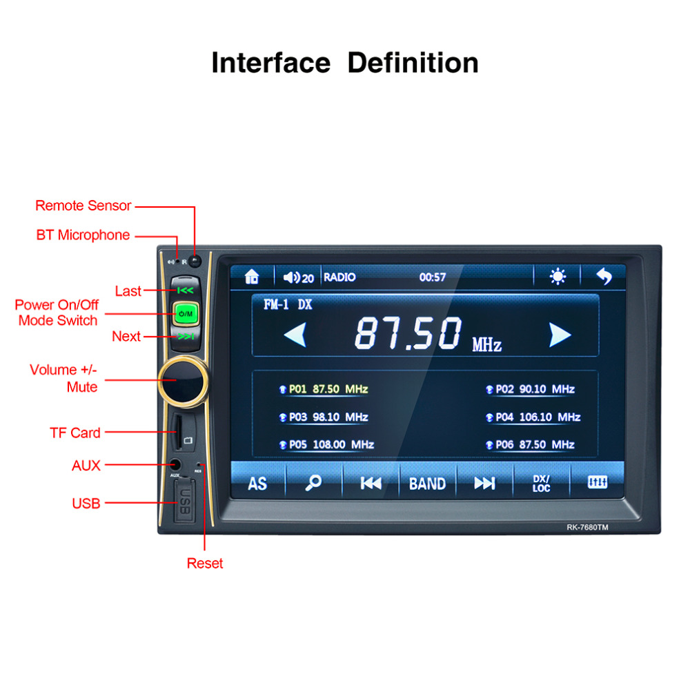 6.5 Inch Touch Screen Digital Stereo Radio HD Display Auto 2D IN In ...