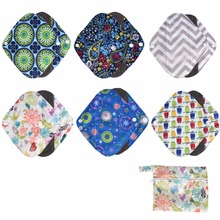 1PC Washable Wet Bag + 6PCs Reusable Bamboo charcoal Cloth Sanitary Menstrual Pads Panty Liner For Women Feminine Hygiene Care