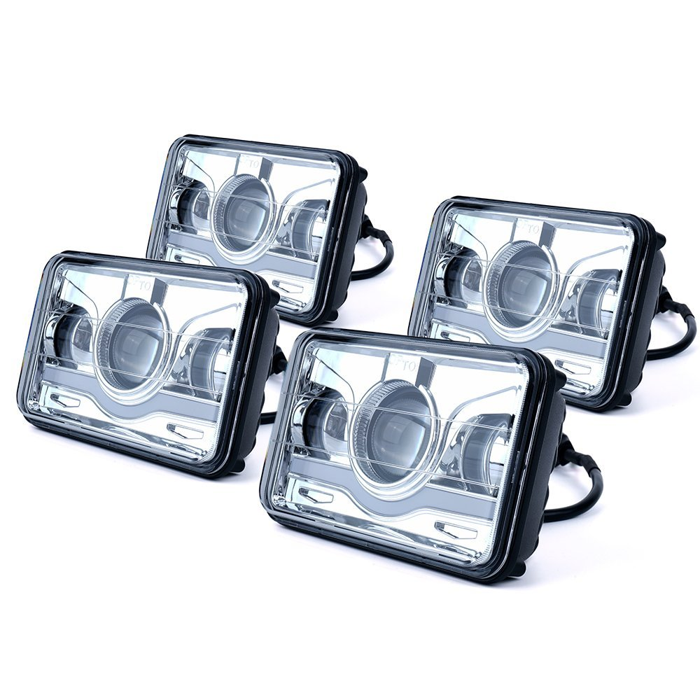 4Pcs 4x6 LED Square Headlight Conversion W/ DRL Replace For HID Xenon H4656 H4666 H6545 Peterbilt Freightliner Kenworth