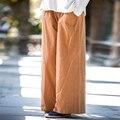 Sólido de Lino cintura Elástica de Algodón Mujeres Pantalones Harem Del Verano Ocasionales Flojos pantalones Anchos de la pierna Pantalones Pantalones de Lino de Diseño de Marca Blanca