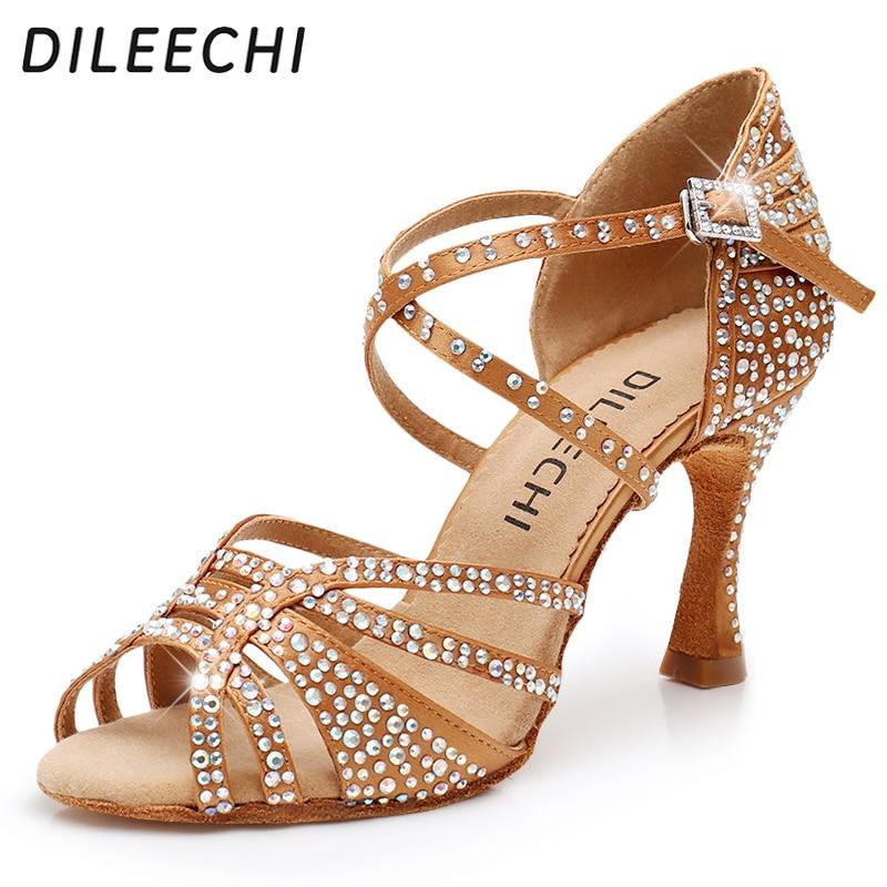 DILEECHI Latin Dance Shoes Women Big Small Rhinestone Salsa Party Wedding Ballroom Dancing Shoes Bronze Black Cuba high heel 9cm slip-on shoe