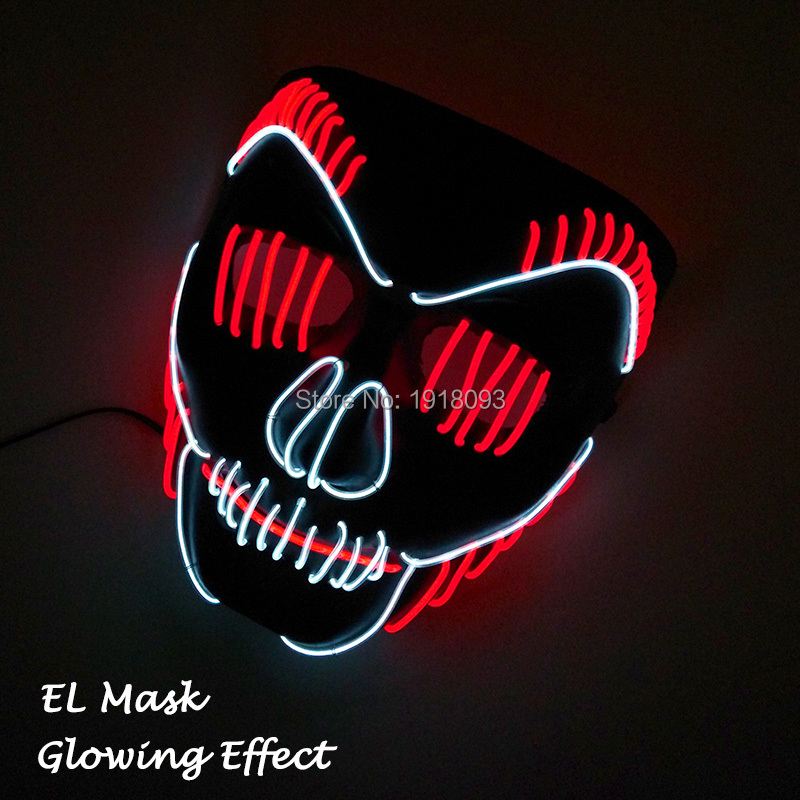 Newest Two Mix Color Glowing Mask EL Product EL Wire Neon Light Mask Rave Party Mask For Halloween Holiday Lighting Decoration
