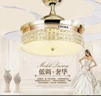 Пульт дистанционного управления Кристалл Потолочный вентилятор лампа 42 дюйма гостиная столовая минимализм современной вентилятор огни по