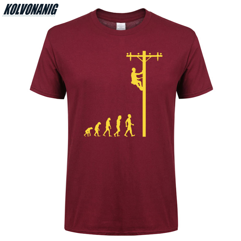 Human Evolution Of Lineman T Shirt Birthday Gift For Electrician Dad Father Husband O-Neck Short Sleeve Cotton Men's T-Shirts