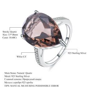 Image 5 - Mücevher bale 10.68ct doğal dumanlı kuvars taş kokteyl yüzük kadınlar için 925 ayar gümüş nişan yüzük güzel takı