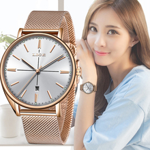 LIGE New Fashion Women Watches Top Brand Luxury Ultra Thin White Gold Watch Ladies Date Creative
