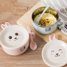 Microwave Bowl Lunch Box Stainless Steel Dinnerware Food Storage Container Children Kids School Office Portable Soup Bento Box