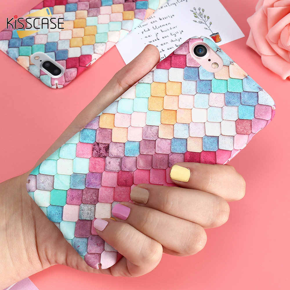 Fundas de teléfono KISSCASE para iPhone SE 5 S funda de moda colorida 3D balanzas chicas sirena funda para iPhone XS MAX XR X 7 6 6s