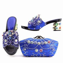 Wonderful royal blue women pumps with big colorful crystal and rhinestone for dress african shoes match handbag set V8817-2