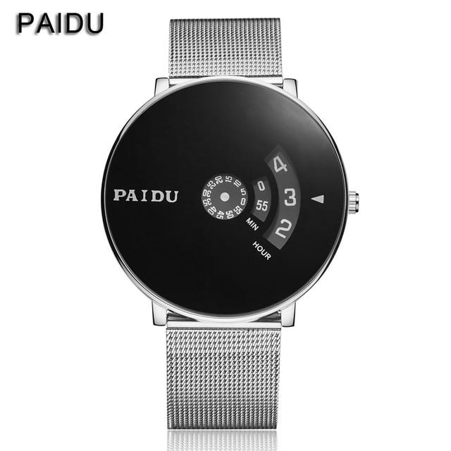 e8af7c169e71 Paidu Full acero reloj mujeres vestido reloj para hombre malla de alambre de  moda reloj Unisex
