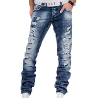 Night Club Blue Buttons Jeans Men Denim Ripped Pants 29 40 Plus Size High Quality Cotton