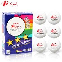 Palio 40+ Бесшовные 3 звезды мячи для настольного тенниса Пластик Материал поли шарики для пинг понга ITTF утвержден 6 шаров/коробка