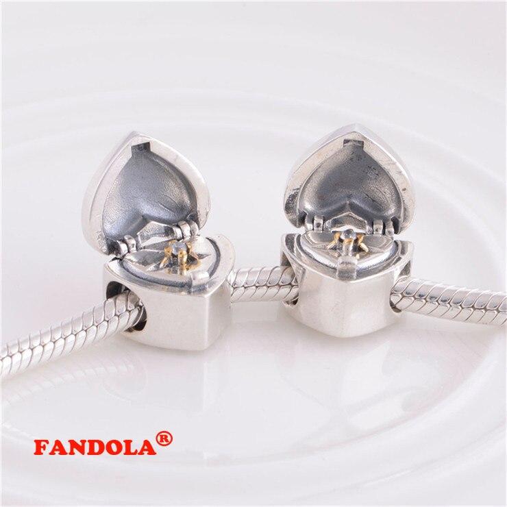 Pandora Charms Bilezikler için uygun Kalp Boncuk 14 K Altın Kaplama - Takı - Fotoğraf 2