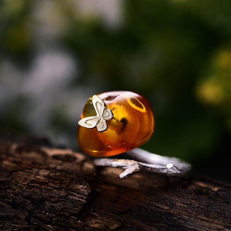 Lotus Plaisir Réel 925 Sterling Argent ambre naturel À La Main Designer Bijoux fins Regarder En Arrière Papillon bagues pour femmes Bijoux - 2