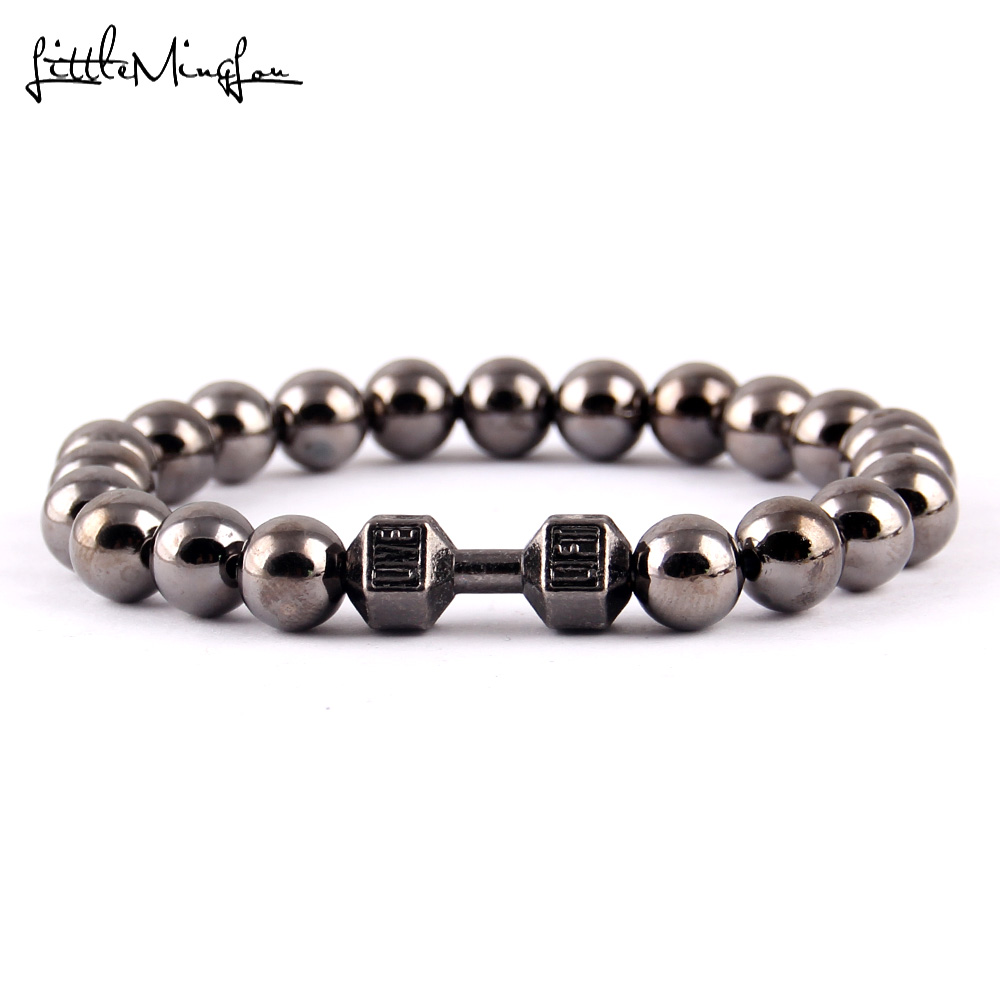 Little Minglittle Fitness haltère Barbell charme gym hommes bracelet - Bijoux fantaisie - Photo 5