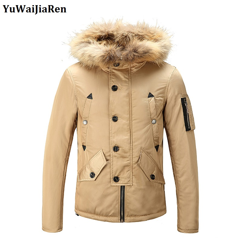YuWaiJiaRen Winter Jacket Men Keep Warm Thicken Coat High Quality Famous Cotton Fashion Parkas Fur Collar Hooded Men's Clothing new obese men hooded down jacket in winter jacket coat plus size7xl8xl cotton padded clothes to keep warm and high quality coat