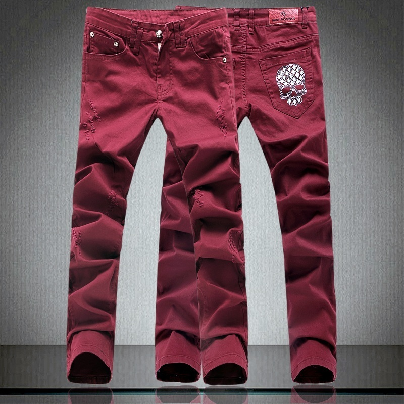 Fashion skull Wine red jeans male personality slim long trousers paillette all-match