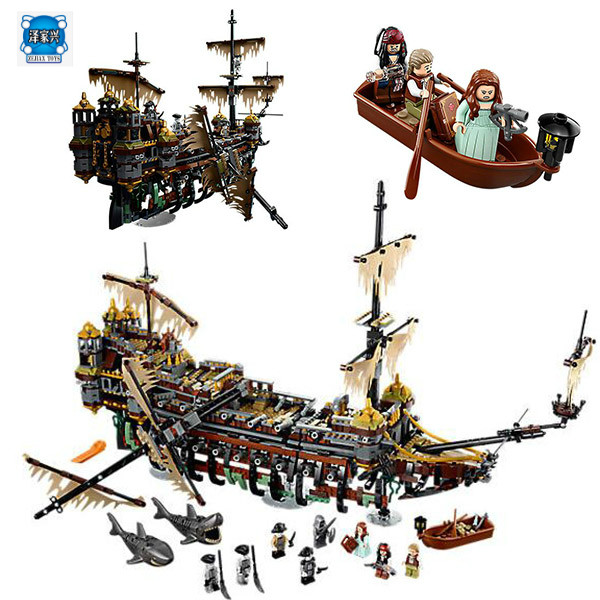 LEPIN 16042 Pirates of The Caribbean Movie Captain Jack Silent Mary Building Block Toys Compatible with Lepins Pirates Caribbean lepin 16042 pirates of the caribbean ship series the slient mary set children building blocks bricks toys model gift 71042