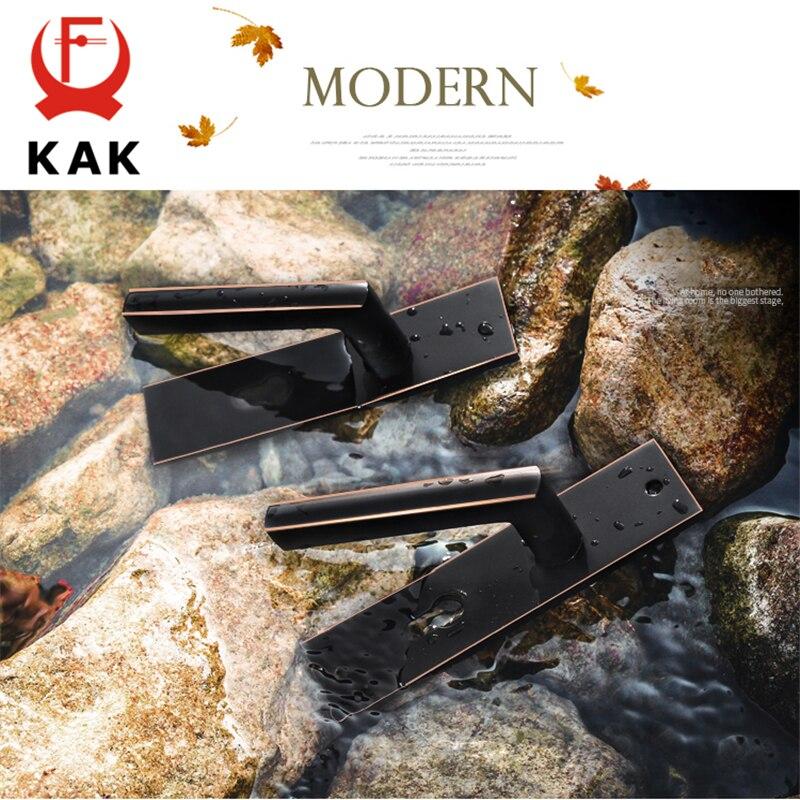 KAK Antique noir muet chambre porte serrure poignée Style américain intérieur porte boutons serrure Anti-vol porte serrure meubles matériel - 5