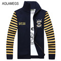 Aolamegs Men Sweater Autumn Winter Cardigan Jacket Mens Fashion Casual Hit Color Striped Sweatercoat Male Knitting Sweter Hombre