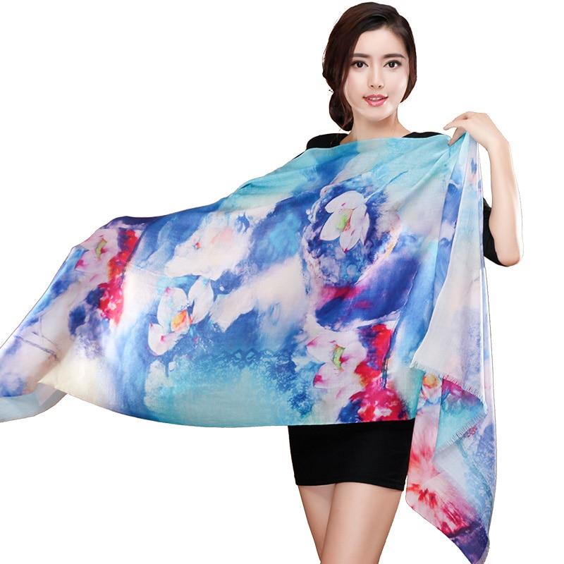 Print luxury Brand Floral Cashmere Scarf Women Oversized font b Tartan b font Scarf Wrap long